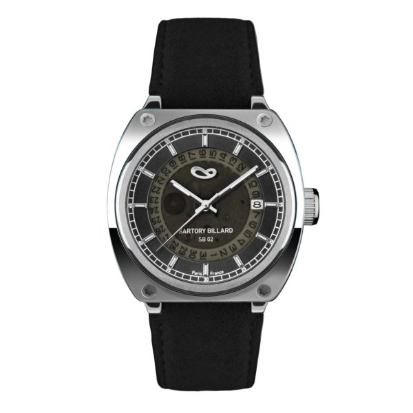 steel watch and black dial, montre en acier et cadran noir