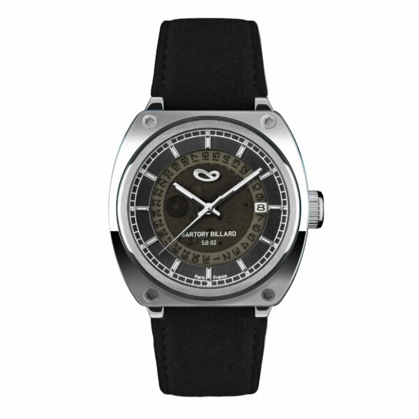 steel watch and black dial, montre en acier et cadran noir