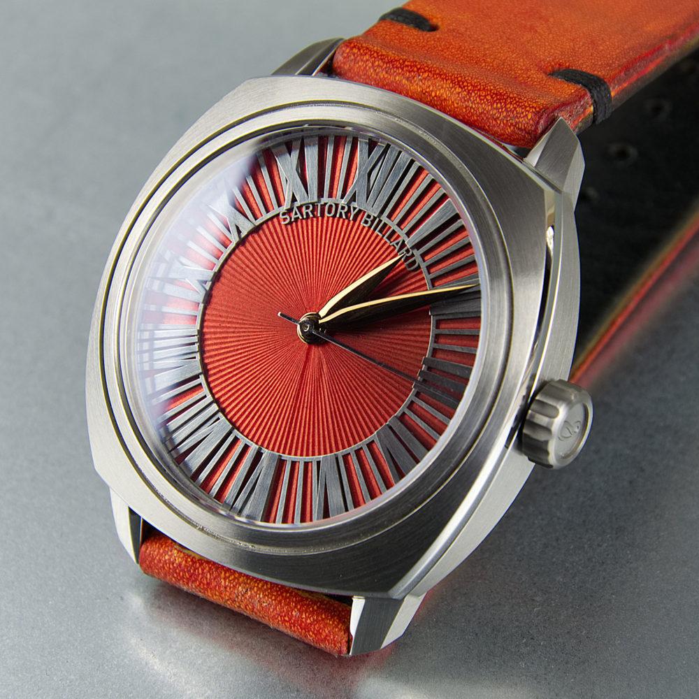 orange dial watch, montre cadran orange