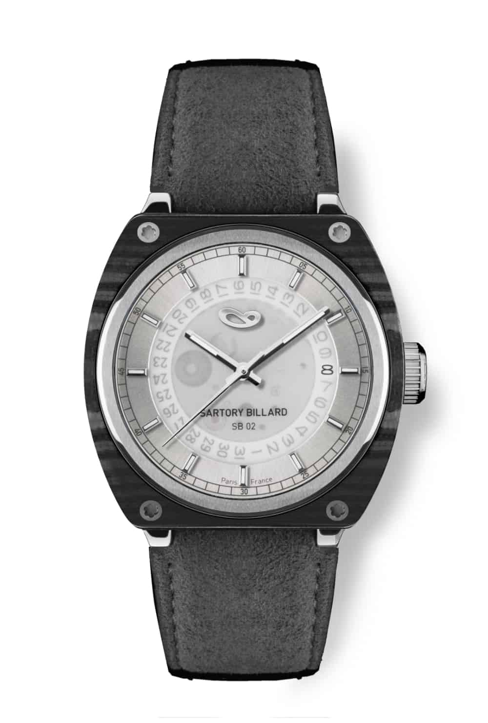 carbone watch and sliver dial, montre en carbone