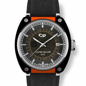 orange and black watch, montre orange et noire