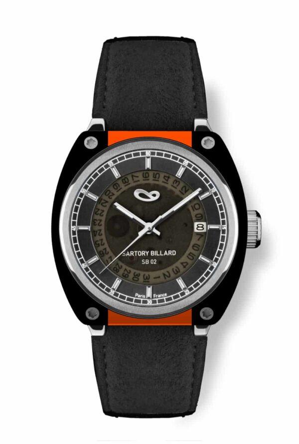orange and black watch, montre orange et noir