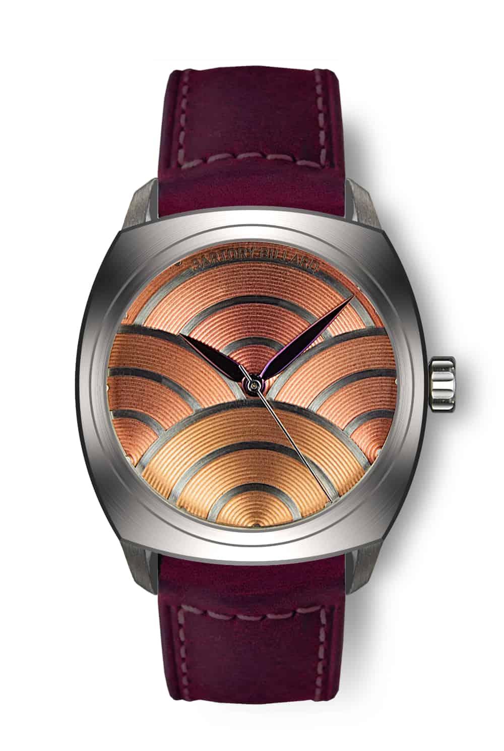 salmon dial watch, montre cadran saumon