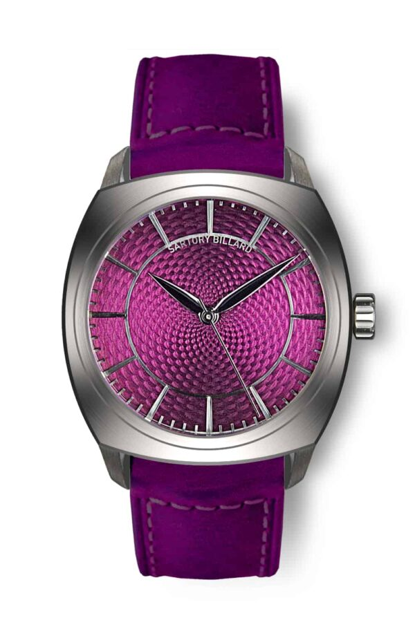 purple dial watch, montre cadran violet